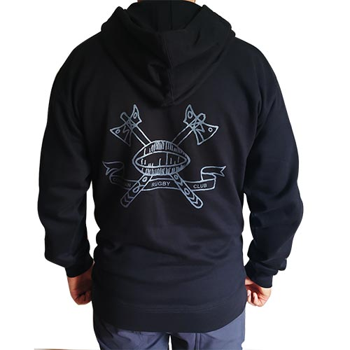 crc Pullover Hoodie in Black, back view
