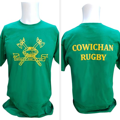 Unisex t-shirt with club logo front and back in kelly green