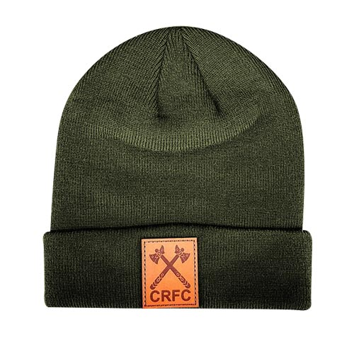 Toque army green with leaather patch engraved logo