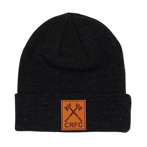 Black Toque with Cowichan Rugby logo engraved in leather patch