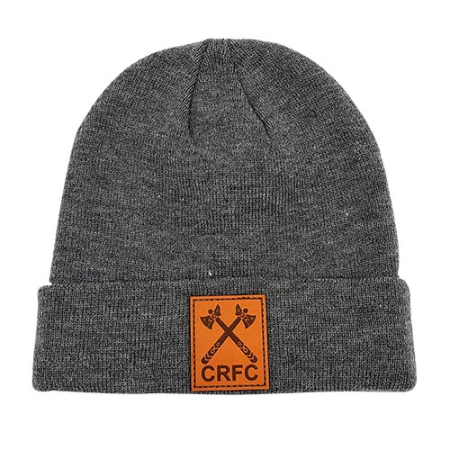 Heather Grey Toque with Cowichan Rugby leather patch with engraved logo